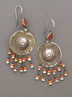 Central Asia | Very old lightweight silver, coral, and carnelian earrings from the Ersari, a Turkman tribe that makes jewelry that is much more subdued than those found in other Turkmen tribal traditions | 195$
