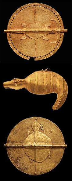 Africa   Pendants from the Akan people of the Ivory Coast    Top). Ø 8 cm. ca. 6,5k gold. 1,680CHF ~ Sold.  Middle) H. 10cms.  6k gold. 8,400CHF ~ sold.  Bottom) Ø 9 cm. 6,5k gold. 2,160CHF ~ sold