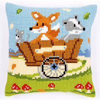 """Vervaco FOREST FRIENDS IN CART Chunky Cross Stitch Cushion Front Kit 16"""" X 16"""""""