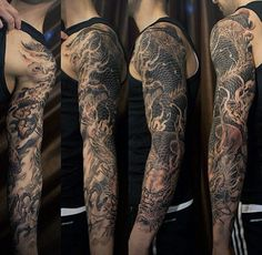 100 Dragon Sleeve Tattoo Designs For Men - Fire Breathing Ink Ideas Dragon Tatoo, Dragon Sleeve Tattoos, Japanese Sleeve Tattoos, Full Sleeve Tattoos, Tattoo Sleeve Designs, Tattoo Designs Men, Arm Tattoo, Tattoo Japanese, Asian Tattoos