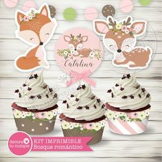 Kit imprimible personalizado animales del bosque romántico Animal Themed Birthday Party, Wild One Birthday Party, Girl First Birthday, Forest Party, Woodland Party, Baby Deco, Baby Shower Themes, First Birthdays, Fantasy Forest