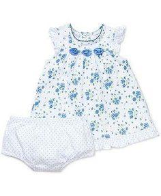Little Me Set de Vestido y Panty Flores Azules Nena