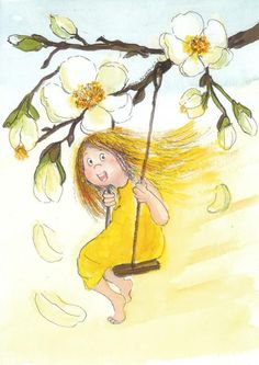 Postcrossing postcard from Finland Pretty Pictures, Art Pictures, Art Images, Little Girl Illustrations, Illustration Girl, Flower Activities For Kids, Art Themes, Simple Art, Whimsical Art
