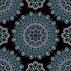Abstract Mandala With Dots Background, Blue And...