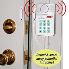 """Home Security Alarm : Simple To Install Wireless Home Security. A piercing 110 decibel alarm will alert you if a door or window is opened. Has 3 alarm settings (instant alert, 10 second delay & chime) & a panic button (which immediately activates the alarm). It's an affordable way to get peace of mind! Requires 3 AAA batteries (not included). 5"" x 3"" x 1""."" (Price $16.99) [www.QciDirect.com]"