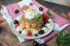A pile of fluffy buttermilk pancakes topped generously with lotus biscoff spread, served up with vanilla icecream / whipped cream, lotus biscuit crumbles and lots of fresh berries. Lotus Biscoff Spread, Lotus Biscuits, Biscoff Biscuits, Buttermilk Pancakes Fluffy, Egg Whisk, Mixed Berries, Salted Butter, Vanilla Ice Cream, Baking Soda