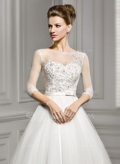 A-Line/Princess Scoop Neck Court Train Satin Tulle Wedding Dress With Beading Appliques Lace Sequins Bow(s) (002056956) - JJsHouse - $199
