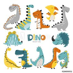 Dinosaurs vector set in cartoon scandinavian style. Colorful cute baby illustration is ideal for a children s room. - Buy this stock vector and explore similar vectors at Adobe Stock Illustration Blume, Cute Animal Illustration, Cute Cartoon Animals, Cute Animals, Die Dinos Baby, Cute Dinosaur, Cartoon Dinosaur, Dinosaur Outline, Dinosaur Images