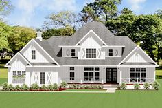 Exclusive 4-Bed Farmhouse Plan with Outdoor Kitchen - 46377LA | Architectural Designs - House Plans