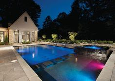 Geometric swimming pools use straight lines and angles to create a variety of contemporary looks. Anthony & Sylvan Pools, Doylestown, Pennsylvania