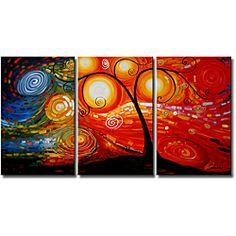 Hand-painted 'Life Tree and Starry Night ' 3-piece Gallery-wrapped Canvas Art Set | Overstock.com Shopping - Top Rated Canvas