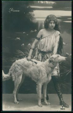 Original Old 1910s Edwardian Photo Postcard Diana Godess Borzoi Dog