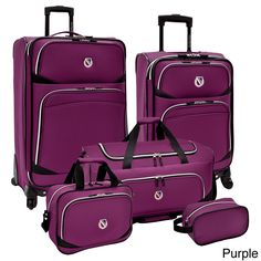 ¥¥*** Beverly Hills Country Club 5-piece luggage set with smooth spinner wheels - purple. Or similar luggage with high customer reviews. I'm picky about color/pattern, though.