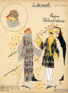 1923 Diederichs (Fabric) ''Les Idées Nouvelles de la Mode'' Fashion Art Deco Pochoir ''Très Parisien''