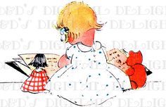 Baby Girl is Engrossed in Picture BOOK With Teddy and Doll!  Vintage Book, Reading Digital Download. Vintage Deco Digital Print.