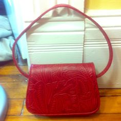 "Sweet patterned red handbag! In mint condition! 8""x6"" cute size! Charter Club Bags"