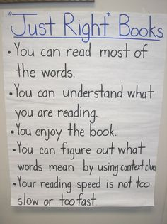 Just right books anchor chart Reading Groups, Reading Strategies, Reading Comprehension, Kindergarten Anchor Charts, Reading Anchor Charts, Classroom Charts, Classroom Ideas, Future Classroom, Teaching Reading