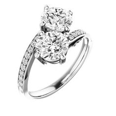 2.00 Ct Diamond Two Stone Love Engagement Ring  14k White Gold