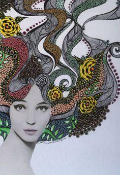 Jean Shrimpton Watercolor & Ink Illustration OOAK