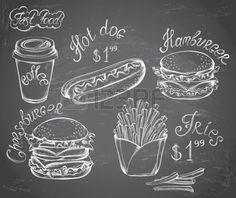 tableau à craie: Vector Hand Drawn ensemble de Retro Menu rapide de l'alimentation avec des prix sur le tableau dans le style vintage Illustration