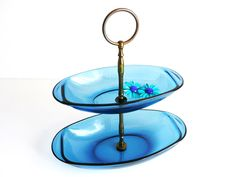 Vintage Candy Dish, Vereco France, Blue, Glass, Two Tier Serving Tray, Tidbit Dish, Jewelry Display, Vibrant, Colorful, Home Decor. $45.00, via Etsy.