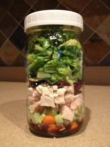 Cranberry Chicken {Salad in a Jar Recipe}         Step 1:  Bake Chicken 4 oz. chicken breast Italian seasoning, to taste salt and pepper, to taste Sprinkle the chicken with Italian seasoning, salt and pepper. Bake in 350 degree oven for