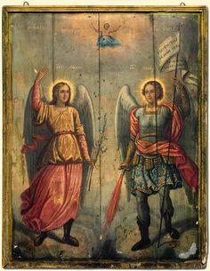 Byzantine Icons, Byzantine Art, Religious Images, Religious Art, Dark Artwork, Best Icons, Archangel Michael, Catholic Art, Angels And Demons