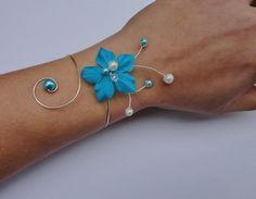 Bracelet mariée, mariage fleur de soie turquoise