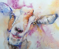 ArtWall 'Goat' by Liz Chaderton Painting Print on Wrapped Canvas Size: Goat Paintings, Animal Paintings, Watercolor Animals, Watercolor Paintings, Watercolor Ideas, Watercolours, Painting Prints, Canvas Prints, Ink Painting