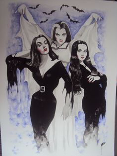 Lilly Munster, Vampira & Morticia Addams by FrancisK (watercolor)