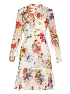 Devika long-sleeved Carmel Flora-print dress by Erdem   Shop now at #MATCHESFASHION.COM