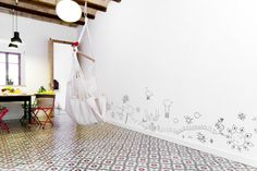 Drawings on the wall....Kid & Coe | The Torrent de les Flors Residence | Barcelona