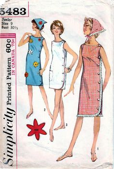Shift Dress Pattern, Jumpsuit Pattern, Jacket Pattern, Diy Fashion, Retro Fashion, Vintage Fashion, Vintage Sewing Patterns, Clothing Patterns, Vintage Simplicity Patterns