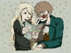 Newt, with grand-daughter in law, luna lovegood harry potter Arte Do Harry Potter, Images Harry Potter, Harry Potter Drawings, Harry Potter Anime, Harry Potter Facts, Harry Potter Universal, Harry Potter Fandom, Harry Potter Characters, Harry Potter World