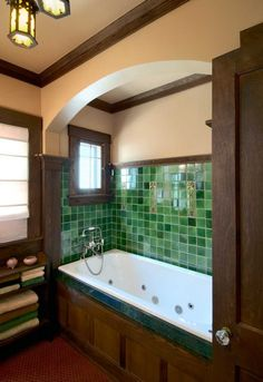 In a revival bathroom designed by SALA Architects, the tiled tub niche recalls designs. Photo: Christian Korab Cabinets, fixtures, and tile for modern interpretation: A look at revival design approaches. Craftsman Style Bathrooms, Craftsman Decor, Craftsman Interior, Craftsman Style Homes, Craftsman Bungalows, Craftsman Style Interiors, Bungalow Bathroom, Craftsman Tile, Craftsman Houses