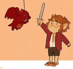 "No one messes with this hobbit. how adorable would this be for a bday party little ""hobits"" and a dragon pinata lol"