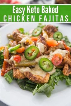 If you want a great meal that the kids will love, look no further than our Keto Baked Chicken Fajitas! These are so easy to make and absolutely delicious. A perfect addition to your meal plan. #keto #lowcarb