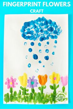 April showers can bring beautiful art! This flower and rain inspired project is created with fingerprints!