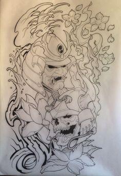 Samurai Tattoo draw drawing Asia