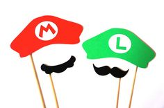Super Mario Bros. Themed Photo Booth Props - Mario and Luigi Hats and Mustaches - Set of 4 Super Mario Brothers Props on Etsy, $10.00