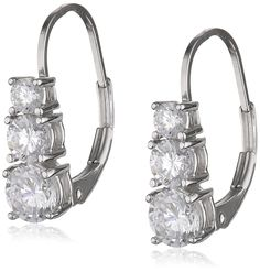 Platinum Plated Sterling Silver Round Cubic Zirconia Three-Stone Lever Back Earrings (1.7 cttw) ** You can get more details here : trend jewelry 2016