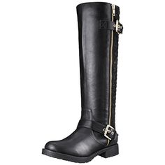 Penny Loves Kenny Women's Dallas Motorcycle Boot, Black, 7 M US. Knee-high moto boot featuring quilted back panel, bright side zipper, and engineer straps with gold-tone buckles. Full-length instep zipper.