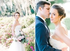 Bride and groom at Middleton Place in Charleston, SC