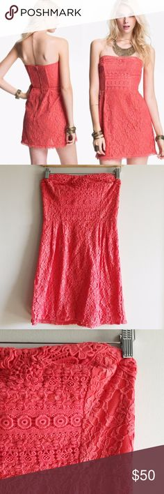 FREE PEOPLE Strapless I Heart Lace Dress Free People   4   Strapless dress   Pink/coral color   Eyelet/lace fabric with pink lining   Crochet details on chest   Fitted waist with wired sides   Back zip & hook closure   Slight signs of wear but in great condition   Tag has been removed but is Free People - 66170 RN on material tag  Measurements:  Material: Free People Dresses Strapless