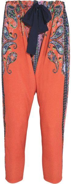 CLOVER CANYON Orange Cropped Printed Crepe De Chine Pants