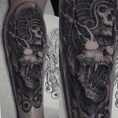 God of Death- Mictlantecuhtli- in Aztec myhology. Done today at @rookletink #h2oceanproteam #kwadron