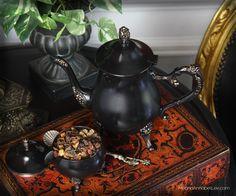 DIY Black & Gold Victorian Gothic Tea Set / Tea Pot - Goth entertaining & Home Decor - Dark Alice in Wonderland - www.MeandAnnabelLee.com - Blog for all things Dark, Gothic, Victorian, & Unusual