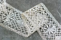 Antique Lace Ribbon Yardage. Vintage. Aged by NorthMajestyTrail