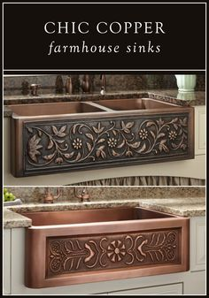 Bring warmth and style to your cottage-chic kitchen with a copper farmhouse sink. With so many options from Signature Hardware, you'll find the perfect focal point for your space. by helene - Farm House Decor Copper Farmhouse Sinks, Copper Kitchen, Farmhouse Style Kitchen, Kitchen Redo, Kitchen Styling, Country Kitchen, New Kitchen, Kitchen Design, Copper Sinks