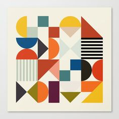 Buy mid century retro shapes geometric Canvas Print by anarutbre. Worldwide shipping available at Society6.com. Just one of millions of high quality products available.